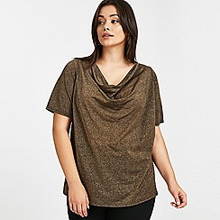 Evans - Gold sparkle cowl neck top