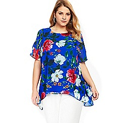 Evans - Blue floral hanky overlay top