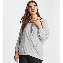 Evans - **Boutique grey embellished wrap top