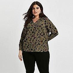 Evans - Khaki animal print shirt