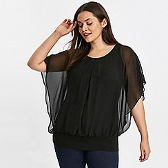 Evans - Black overlay blouse