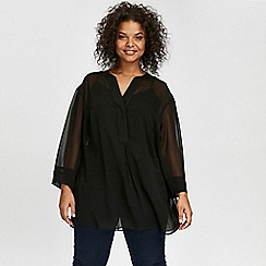 Evans - Black pleat back shirt