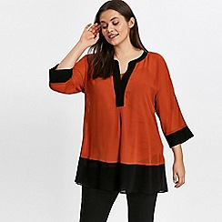 Evans - Rust colour block shirt