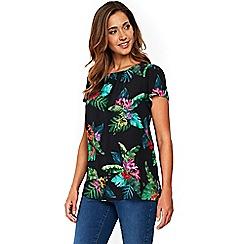 Evans - Dark multi colour floral print short sleeve top