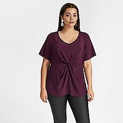 Evans - Purple knot front blouse