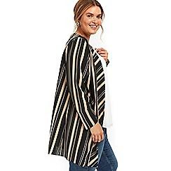 Evans - Black and camel striped kimono