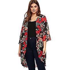 Evans - Red floral print kimono top