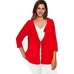 Evans - Red ruffle front tie kimono