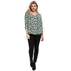 Evans - Green floral print top