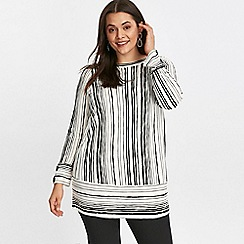 Evans - White stripe print top