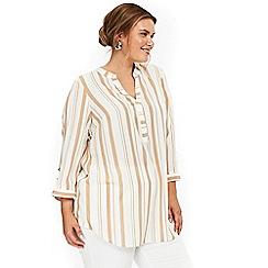 Evans - Ivory and camel striped shirt