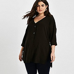 Evans - Black button front top