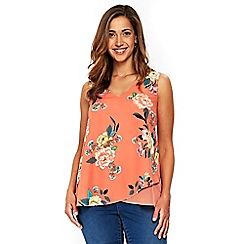 Evans - Coral asymmetric floral vest