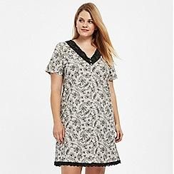 Evans - Black lace printed nightdress