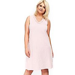 Evans - Pink sleeveless lace detail short nightdress