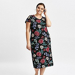Evans - Black jewel floral long nightdress