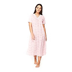 Evans - Pink heart print lace long nightdress