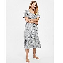 Evans - Grey floral print midi nightdress