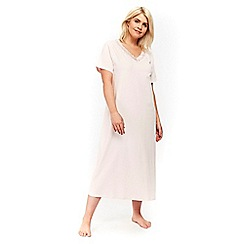 Evans - Pink short sleeve lace detail long nightdress