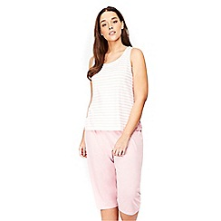 Evans - Pink striped cropped pyjama set