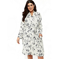 Evans - Navy blue floral dressing gown
