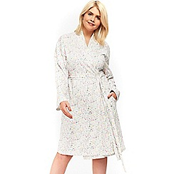 Evans - Cream lace ditsy robe