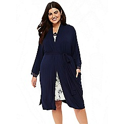 Evans - Navy blue lace dressing gown