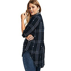 Evans - Navy blue checked embroidered shirt