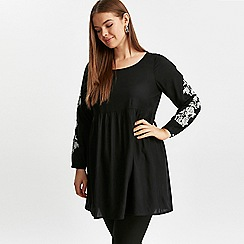 Evans - Black embroidered sleeve tunic top