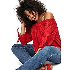 Evans - Red cutout tie sleeve bardot top