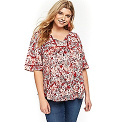 Evans - Red palm print blouse
