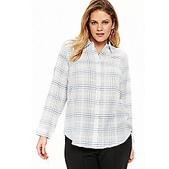 Evans - White blue pearl checked shirt