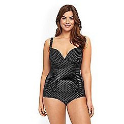 Evans - Black polka dot tankini top