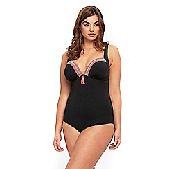 Evans - Black plunge tape swimsuit