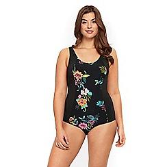 Evans - Black tropical floral print swimsuit
