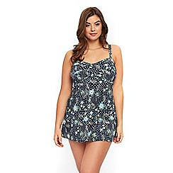 Evans - Navy blue bali print twist front swim dress