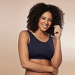 Evans - Navy blue and white 2 pack eve sleep bra