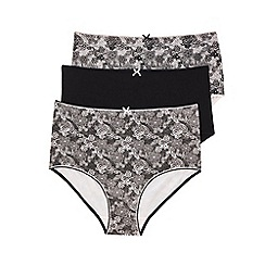 Evans - Black 3 pack floral print full brief knickers