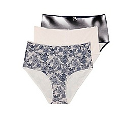 Evans - Multicoloured 3 pack lace full brief knickers