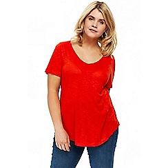 Evans - Flame orange v-neck t-shirt
