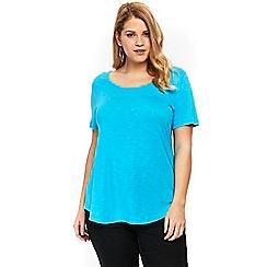 Evans - Blue scoop neck t-shirt