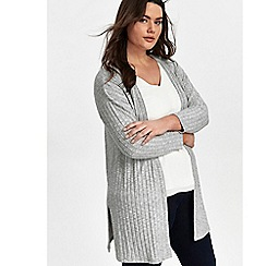 Evans - Grey soft touch ribbed cardigan