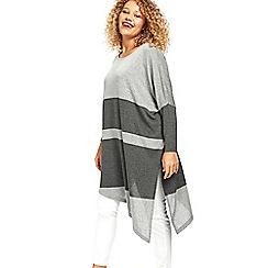 Evans - Grey stripe colour block top