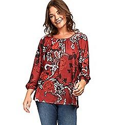 Evans - Red floral print top