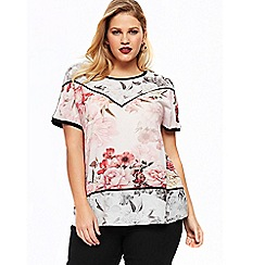 Evans - Multicoloured floral woven front top