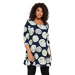 Evans - Navy blue printed tunic top