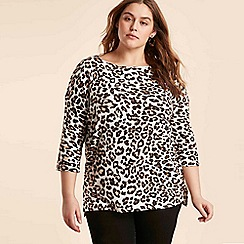 Evans - Ivory Animal Print Soft Touch Top