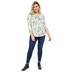 Evans - Ivory floral print frill top