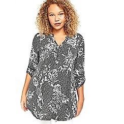 Evans - Black floral tile print blouse