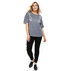 Evans - Navy blue gingham embroidered frill top